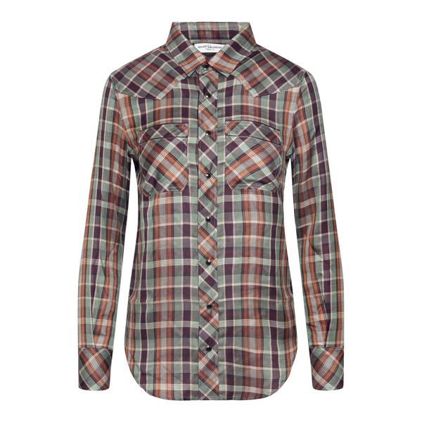 Multicolored checked shirt                                                                                                                            Saint Laurent 663876 back