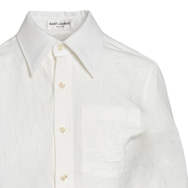 Camicia bianca con ricamo a tono                                                                                                                       SAINT LAURENT                                      SAINT LAURENT