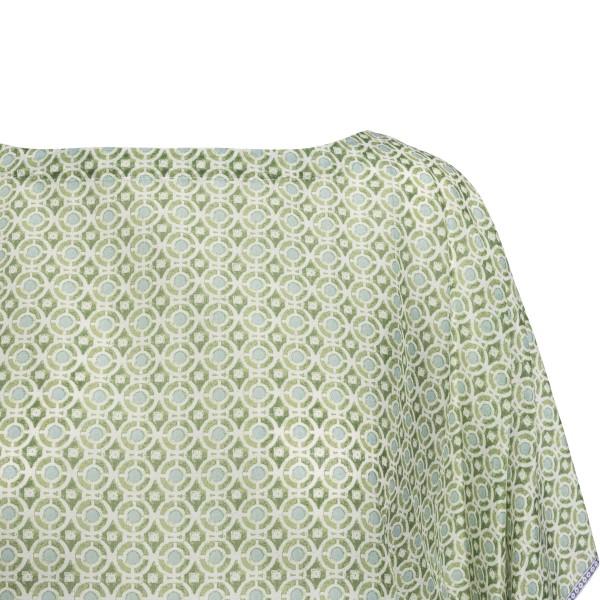 Blusa verde a caftano con nappine                                                                                                                      TORY BURCH                                         TORY BURCH