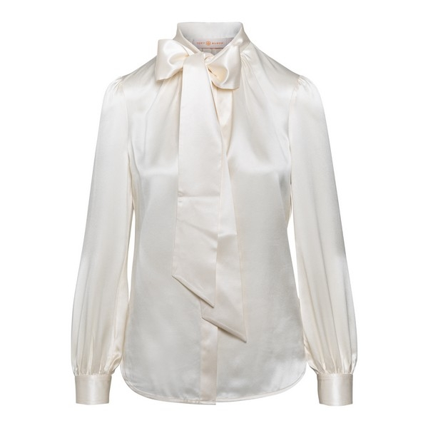 White pussy bow blouse                                                                                                                                Tory burch 76174 front