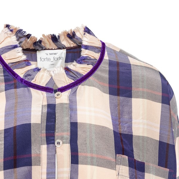 Powder pink and purple checked shirt                                                                                                                   FORTE FORTE