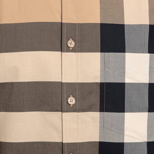 Camicia beige con motivo a quadri                                                                                                                      BURBERRY                                           BURBERRY