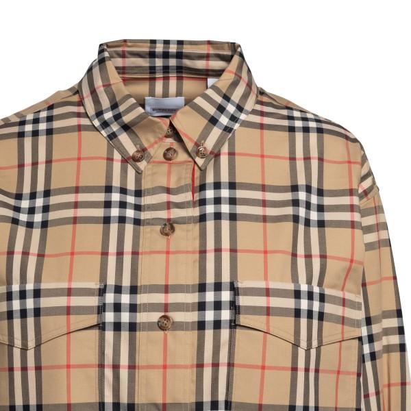 Camicia oversize beige a quadri                                                                                                                        BURBERRY BURBERRY