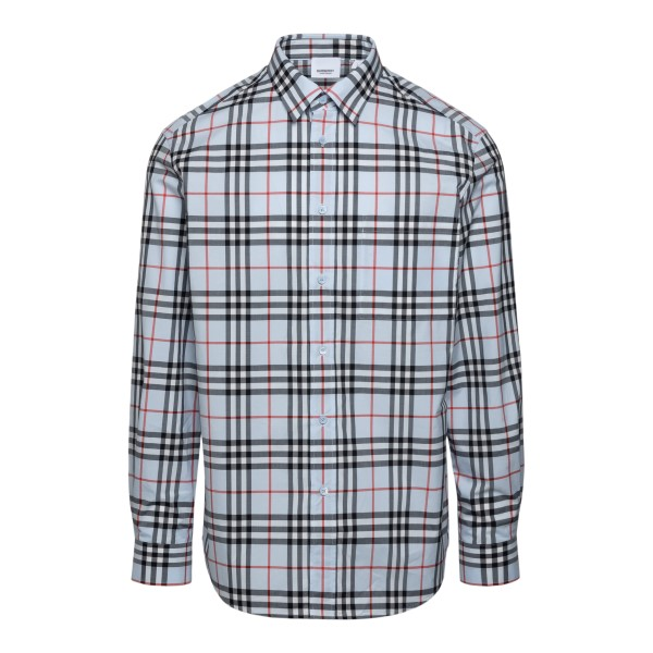 Blue checked shirt with logo                                                                                                                          Burberry 8038522 front