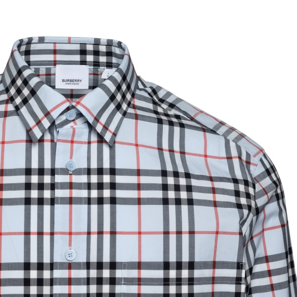 Blue checked shirt with logo                                                                                                                           BURBERRY