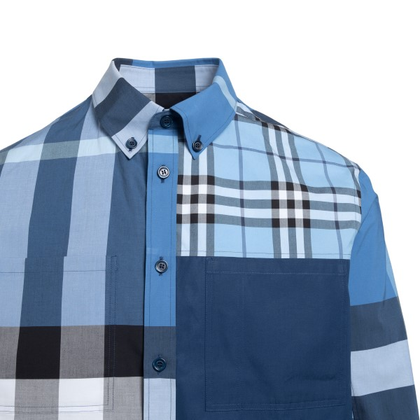 Blue patchwork-style checked shirt                                                                                                                     BURBERRY