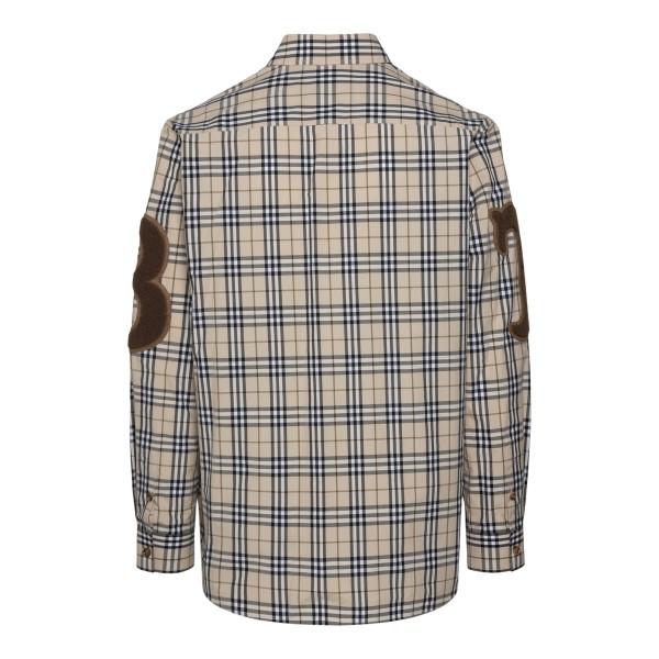 Camicia beige a quadretti con patch                                                                                                                    BURBERRY                                           BURBERRY