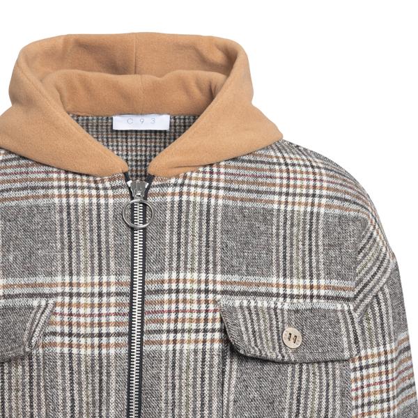 Grey checked jacket with hood                                                                                                                          C.9.3