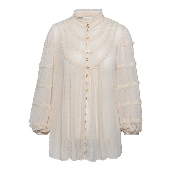 Ivory plumetis blouse with rouches                                                                                                                    Zimmermann 9085TLAD front