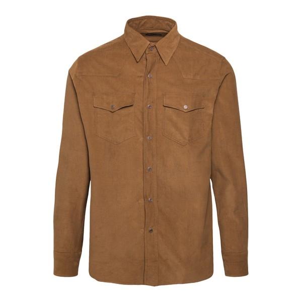 Camicia colore cammello a costine                                                                                                                     Tom ford 94UAHE fronte