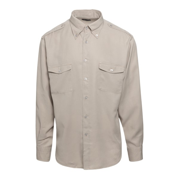 Beige shirt with chest pockets                                                                                                                        Tom Ford 94YMBE front