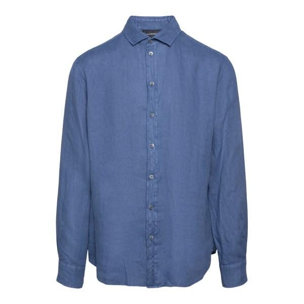 Classic shirt in dark blue                                                                                                                             EMPORIO ARMANI