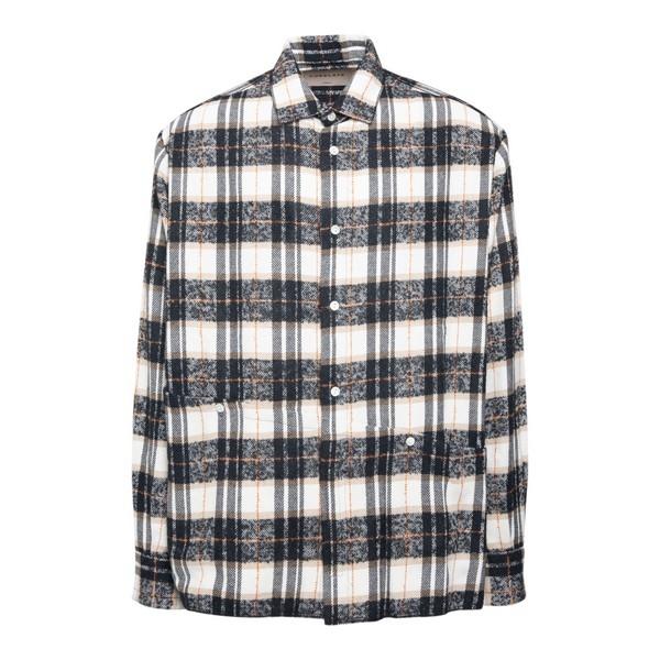 Camicia a scacchi bianca e nera                                                                                                                       Corelate A20163 fronte