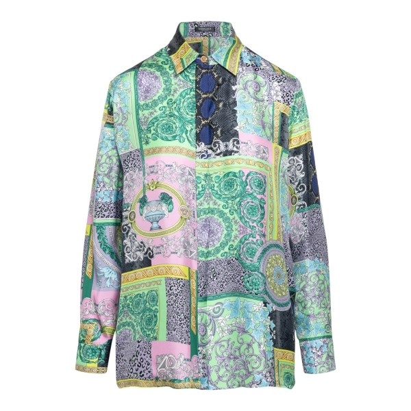 Multicolored shirt with graphic print                                                                                                                 Versace A82662 front