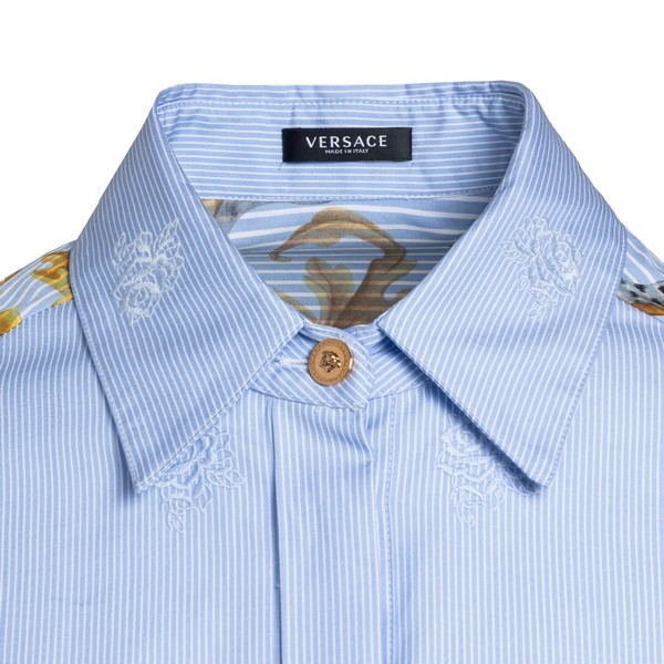 Light blue shirt with printed baroque sleeves                                                                                                          VERSACE