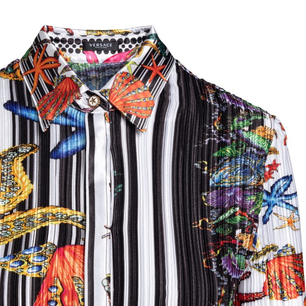 Multicolored pleated shirt with print                                                                                                                  VERSACE