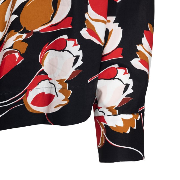 Black shirt with flower print                                                                                                                          MARNI