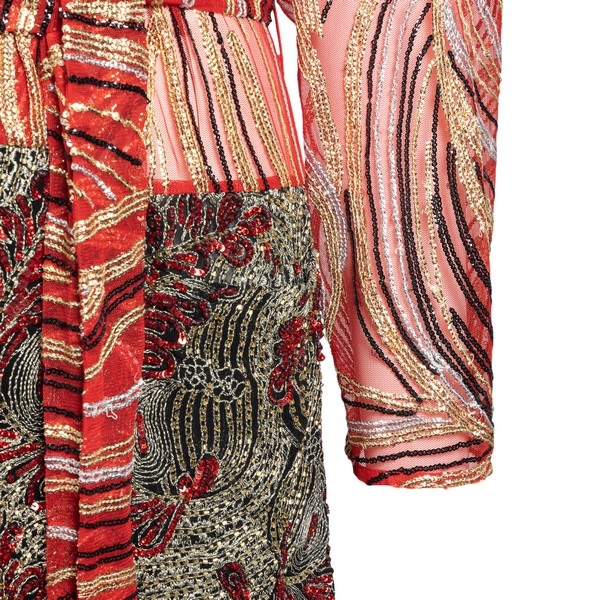 Red dress with embroidery                                                                                                                              DRIES VAN NOTEN