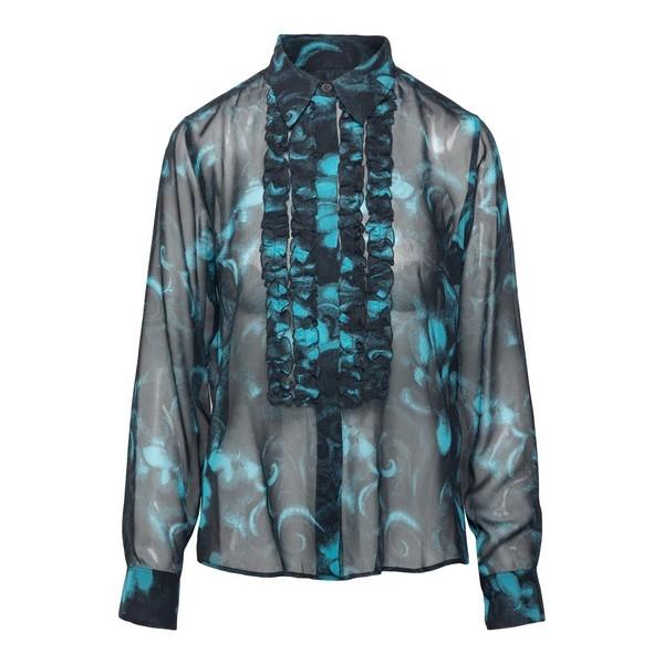 Black shirt with light blue print                                                                                                                     Dries van noten CHOWCHOW front