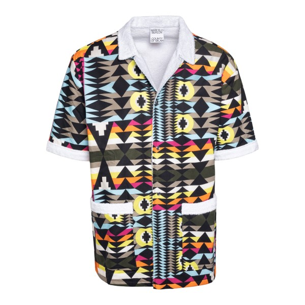 Multicolored shirt with geometric pattern                                                                                                             Marcelo Burlon CMGA076S21FAB001 front
