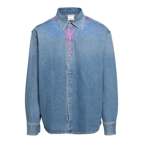 Camicia in denim blu con stampa                                                                                                                        MARCELO BURLON                                     MARCELO BURLON