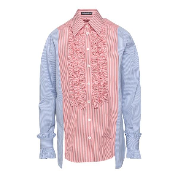 Camicia bicolore con ruches                                                                                                                            DOLCE&GABBANA                                      DOLCE&GABBANA