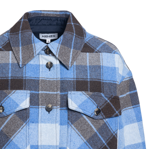 Blue checked shirt jacket                                                                                                                              KENZO