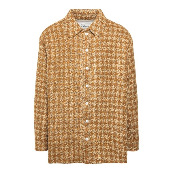 Yellow and beige houndstooth shirt                                                                                                                    Drole de monsieur FW20SH008 front