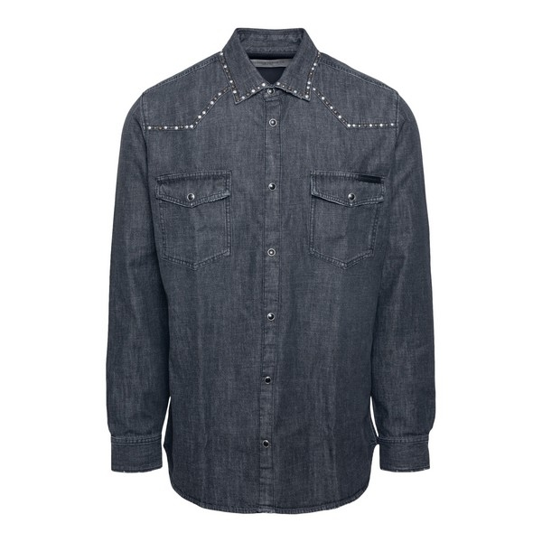 Grey denim shirt with studs                                                                                                                           Golden goose GMP00294 front