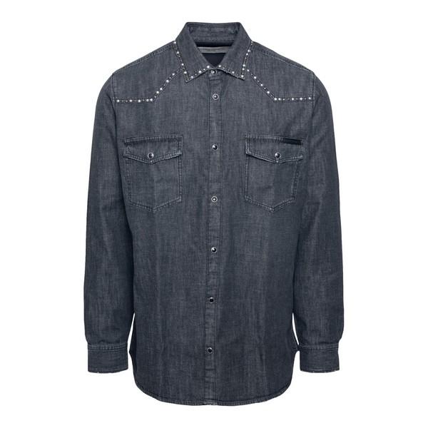 Camicia in denim grigio con borchie                                                                                                                   Golden goose GMP00294 fronte