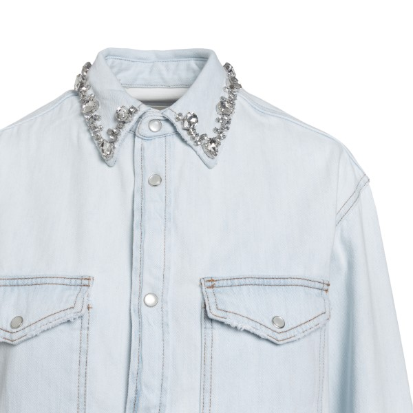 Camicia azzurra in denim con cristalli                                                                                                                 GOLDEN GOOSE                                       GOLDEN GOOSE