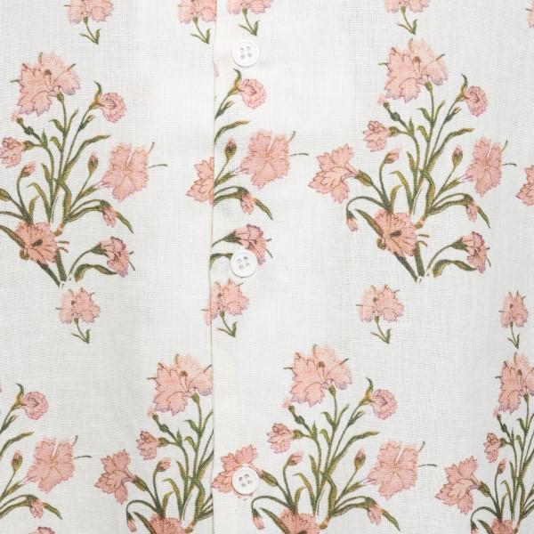 White shirt with floral print                                                                                                                          HEMANT & NANDITA