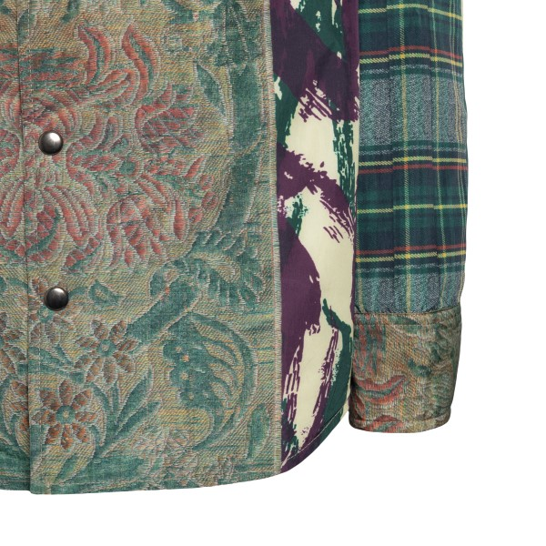 Green patterned and checked shirt                                                                                                                      PIERRE LOUIS MASCIA