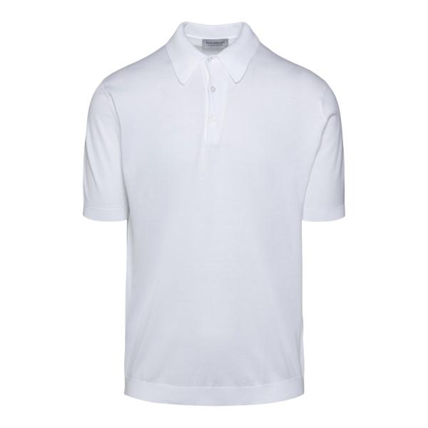 Classic polo shirt in white knit                                                                                                                       JOHN SMEDLEY