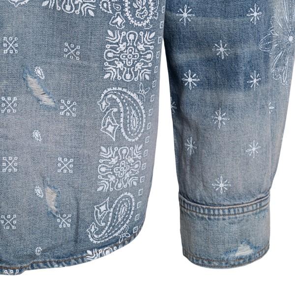 Camicia in denim azzurro con stampe                                                                                                                    AMIRI AMIRI