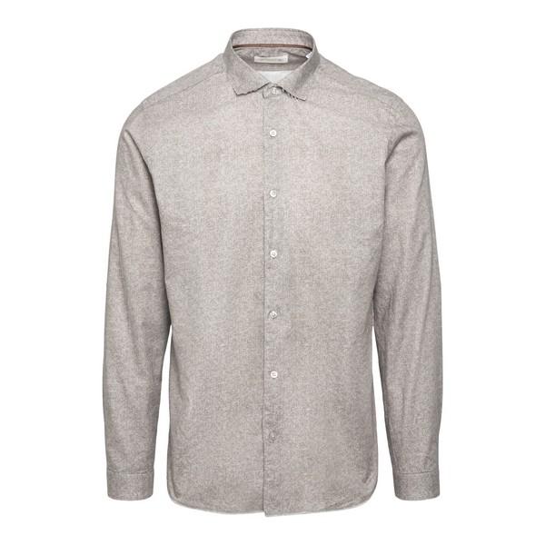 Camicia grigia con effetto vissuto                                                                                                                    Tintoria mattei N6U fronte