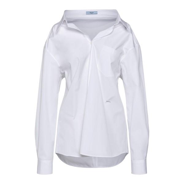 Camicia bianca con stampa logo                                                                                                                         PRADA                                              PRADA