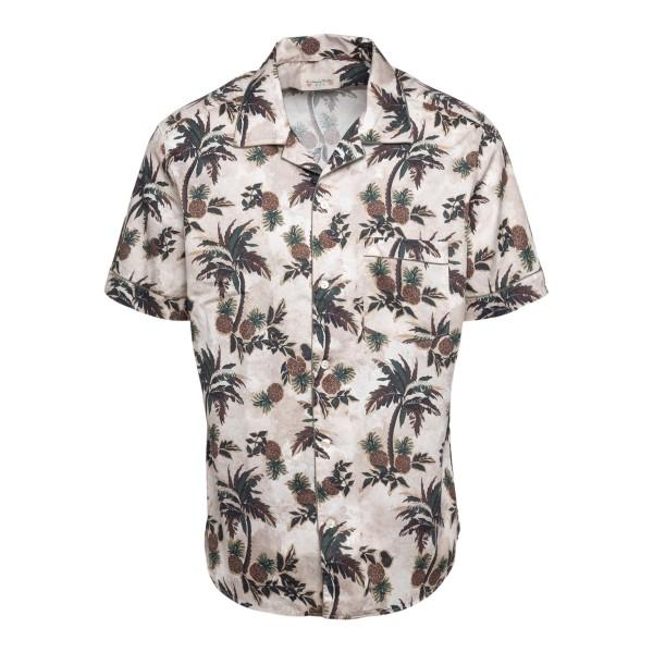 Camicia beige con stampa palme                                                                                                                         TINTORIA MATTEI                                    TINTORIA MATTEI