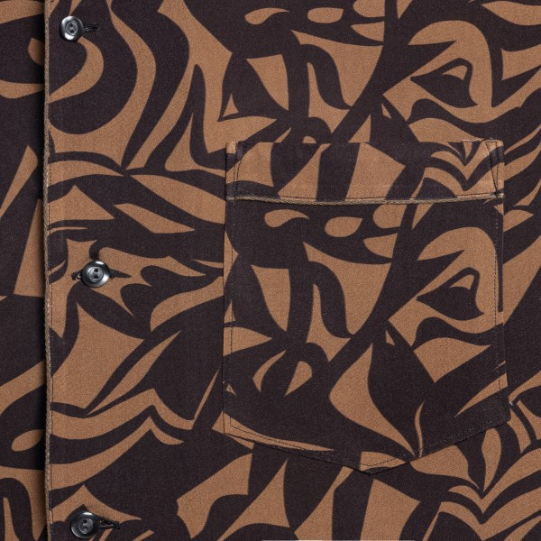 Brown and black shirt with abstract print                                                                                                              TINTORIA MATTEI
