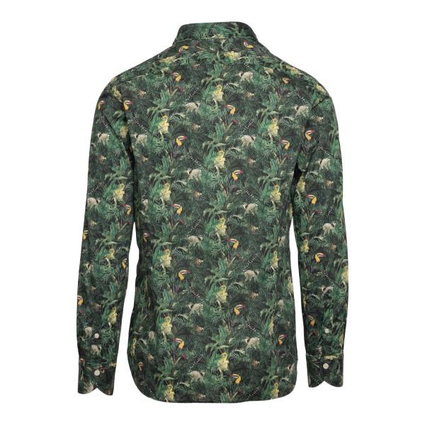 Camicia verde con stampa tropical                                                                                                                      TINTORIA MATTEI                                    TINTORIA MATTEI