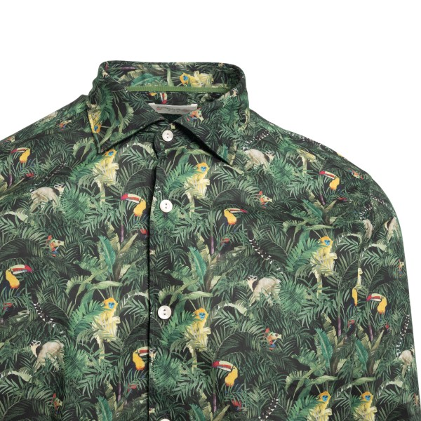 Green shirt with tropical print                                                                                                                        TINTORIA MATTEI