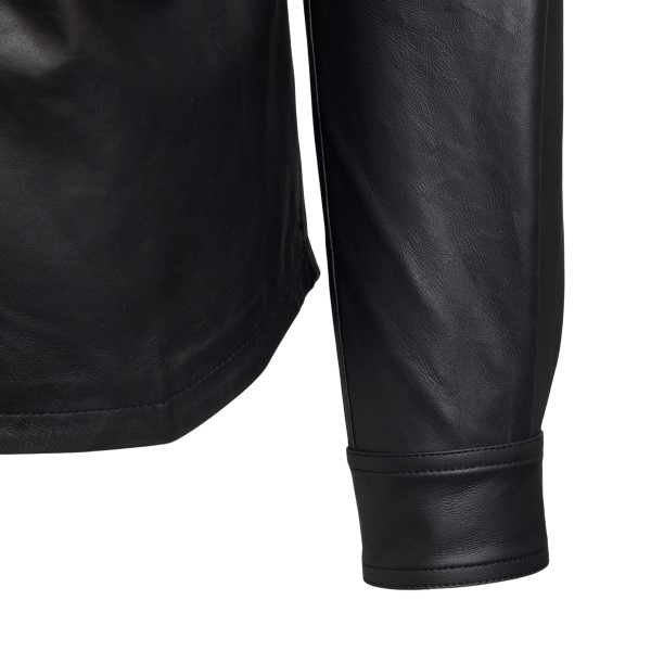 Black leather shirt with zip on the back                                                                                                               RICK OWENS