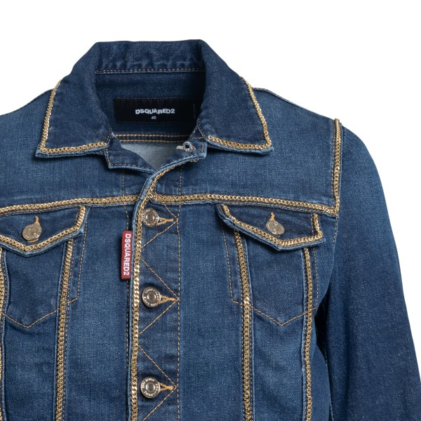 Denim jacket with gold trim                                                                                                                            DSQUARED2
