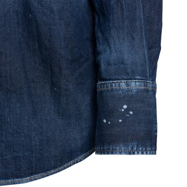 Blue shirt in distressed effect denim                                                                                                                  DSQUARED2