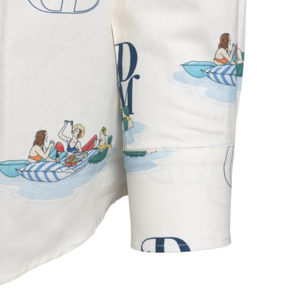 Camicia bianca con stampa e iniziali brand                                                                                                             DROLE DE MONSIEUR                                  DROLE DE MONSIEUR