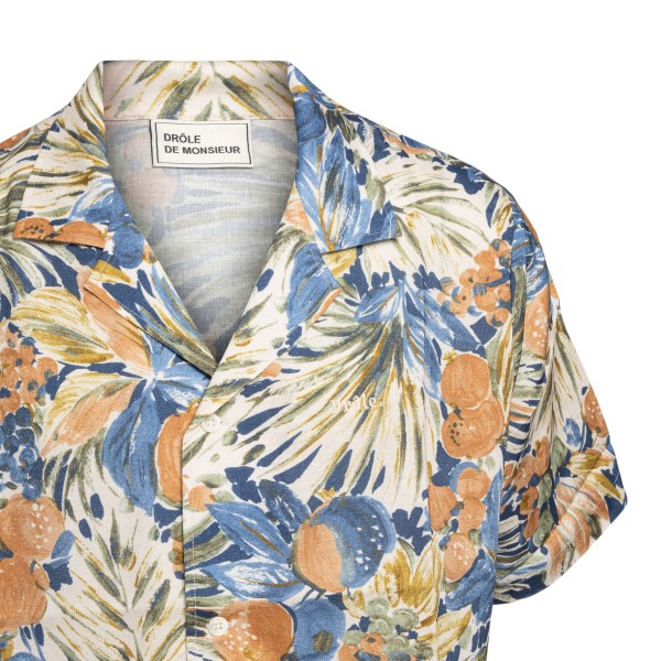 Floral patterned shirt with logo embroidery                                                                                                            DROLE DE MONSIEUR