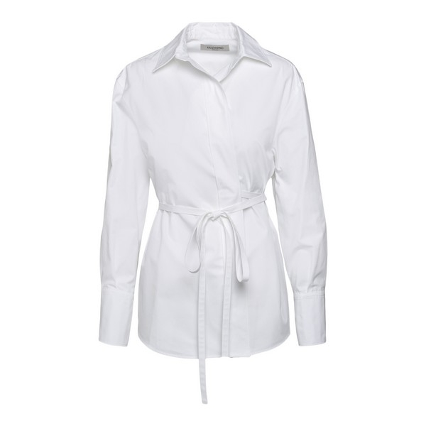 White shirt with ribbon at the waist                                                                                                                  Valentino UB0AB1T0 front