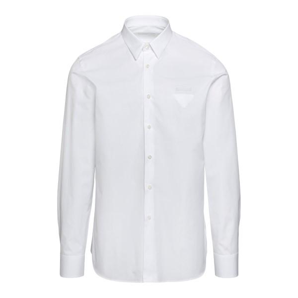 Camicia classica bianca con logo                                                                                                                      Prada UCN259 fronte