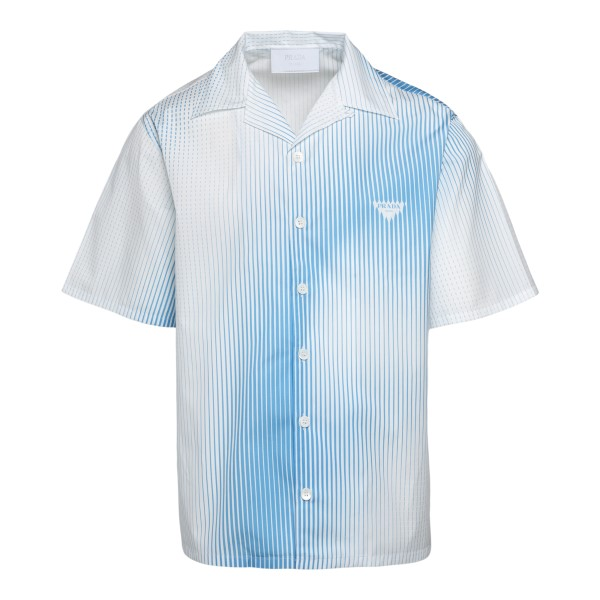 White shirt with blue stripes with logo                                                                                                               Prada UCS396 front