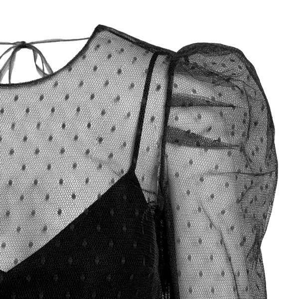 Black layered blouse with mesh                                                                                                                         RED VALENTINO